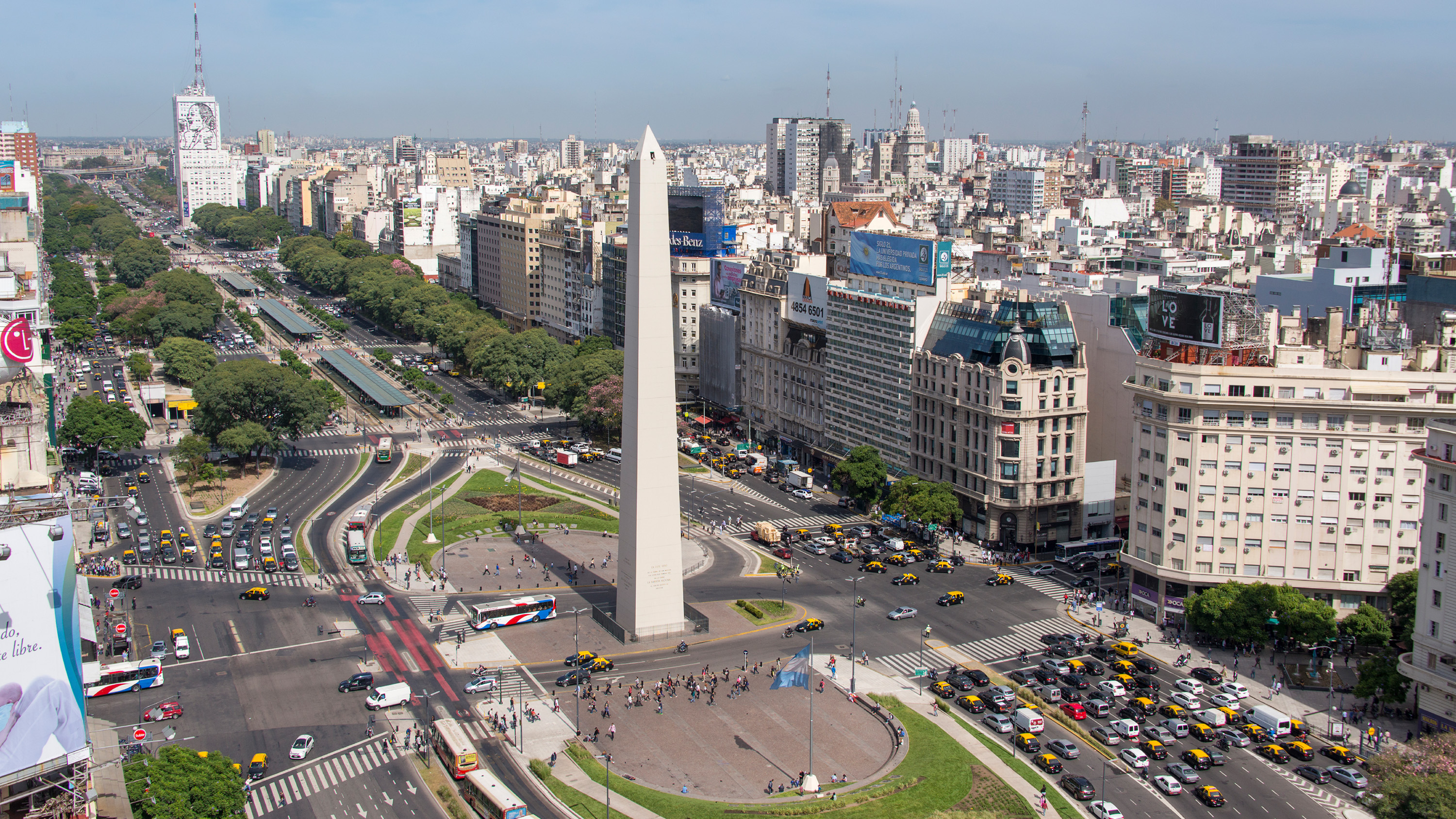 Panoramic view of Avenida in Buenos Aires