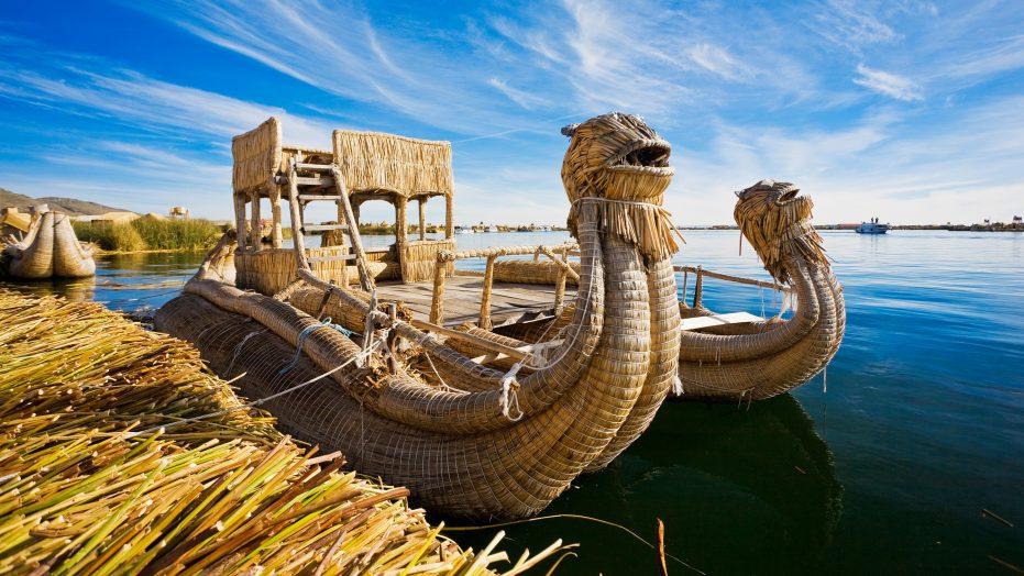 Reed Boat In Lake Titicaca, Peru