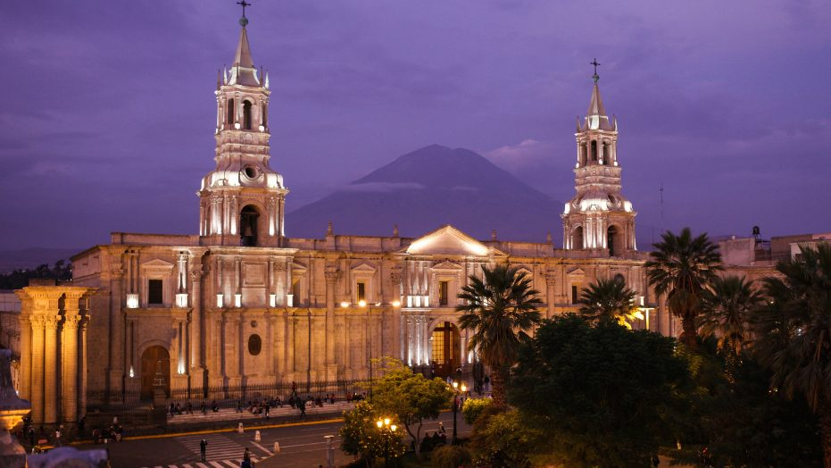 Cathedral of Arequipa with El Misti volcano