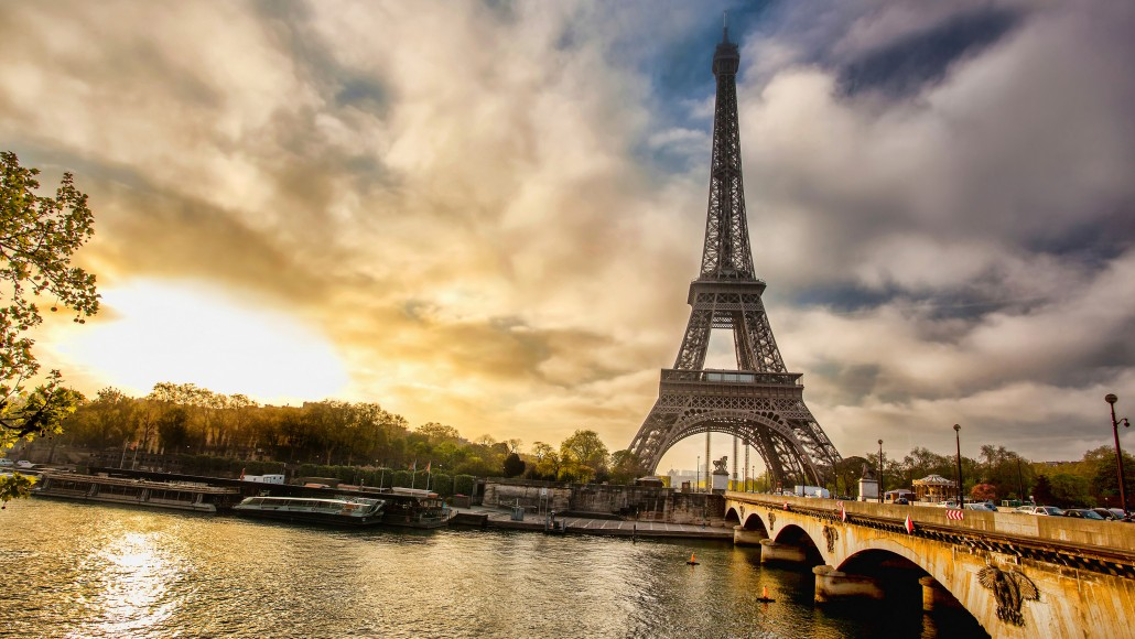 Eiffel Tower with boat in Paris France