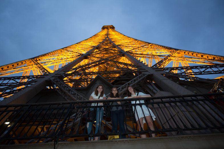 Students at the Eiffel Tower - Paris, France