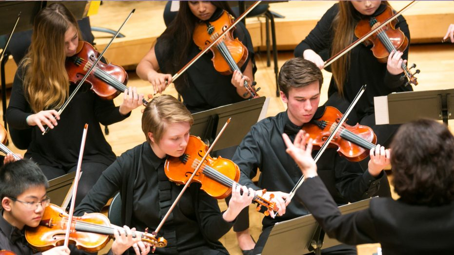 Students perform at the Los Angeles Festival of Gold, California