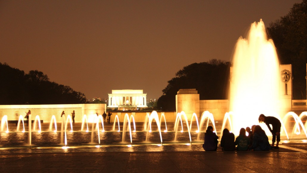 World War II Memorial at night