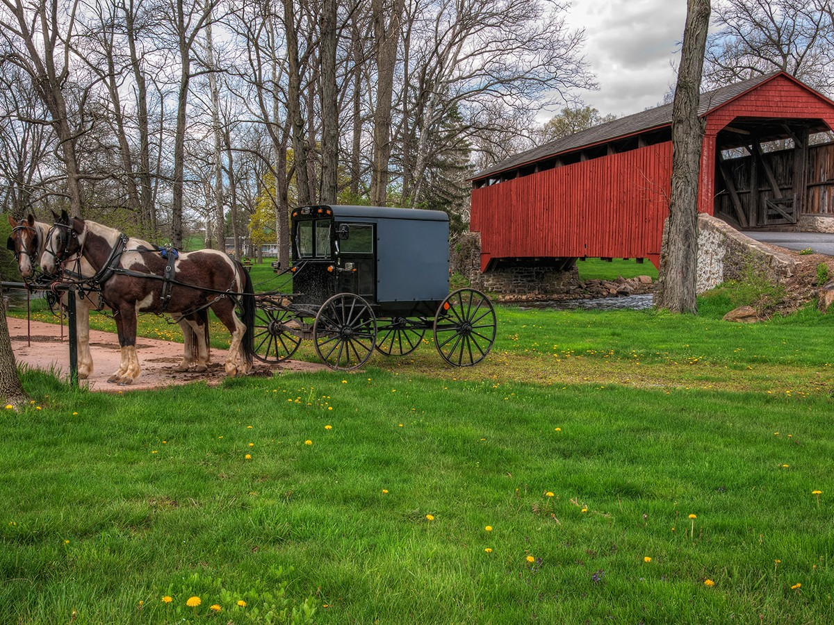 A horse drawn Amish buggy next to a bridge - Lancaster, Pennsylvania