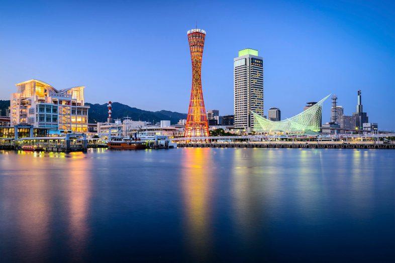 Skyline of Kobe, Japan at the port.