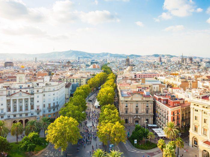 Spanish literature tours - Barcelona Cityscape La Rambla