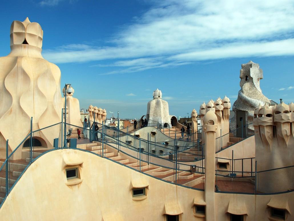 Barcelona art tour: Gaudi Casa Mila Rooftop Barcelona Spain