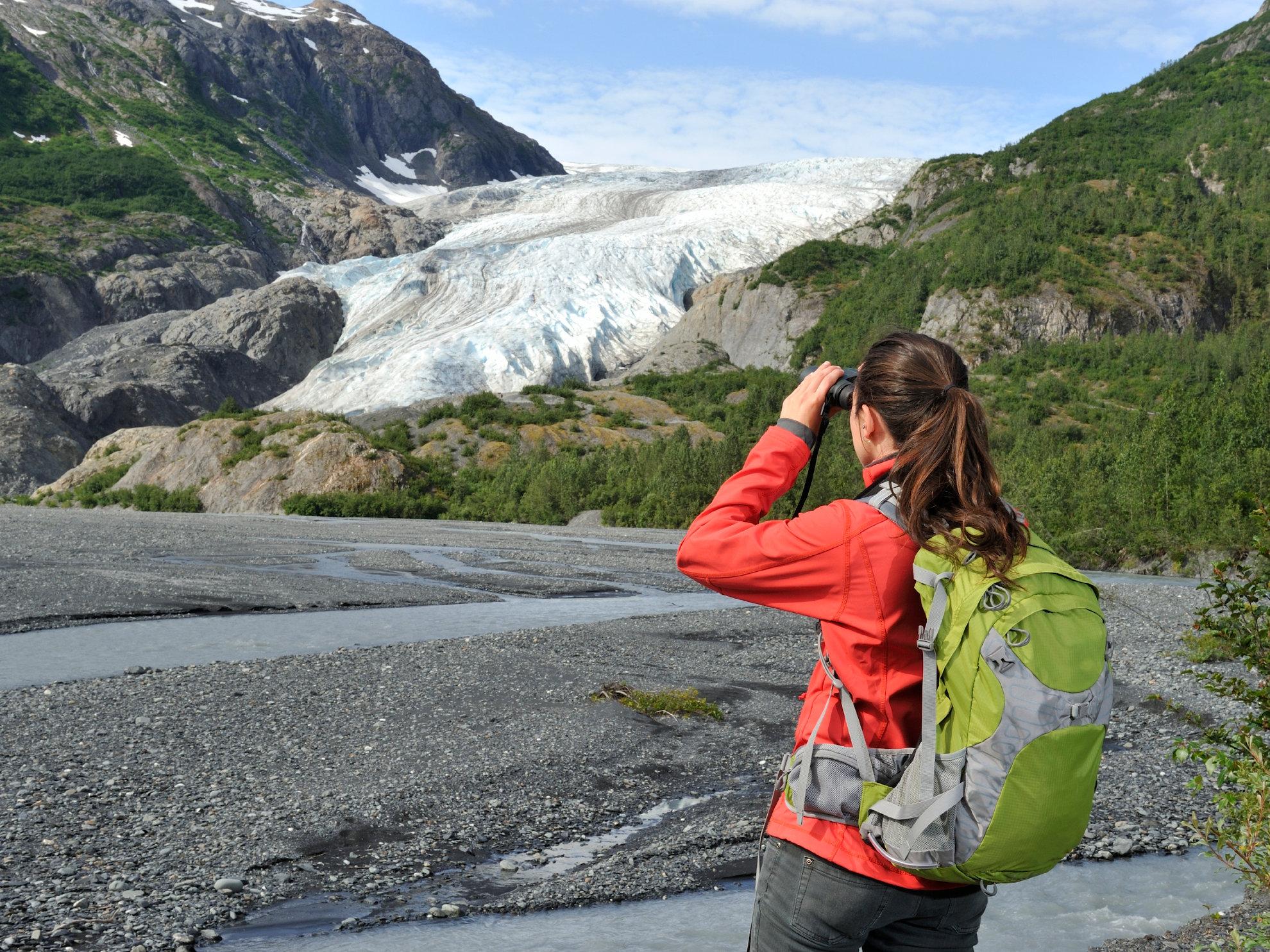 Girl at glacier Alaska