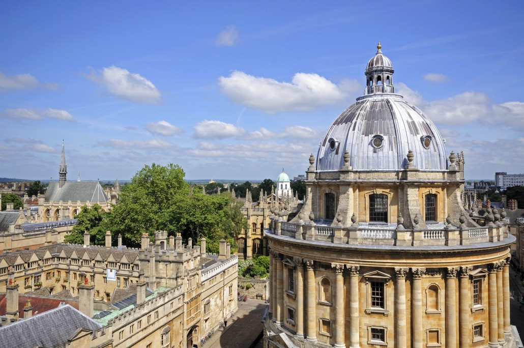 Elevated view of Radcliffe Camera and surrounding buildings, Oxford, Oxfordshire, England, UK, Western Europe.