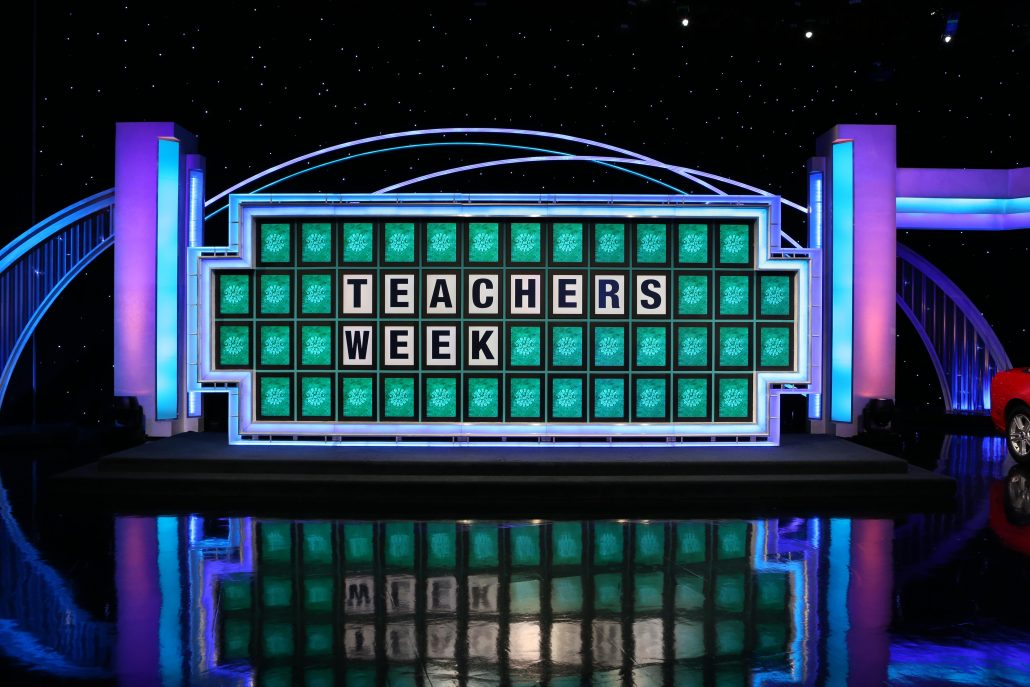 "Wheel of Fortune board reads ""teachers week"""