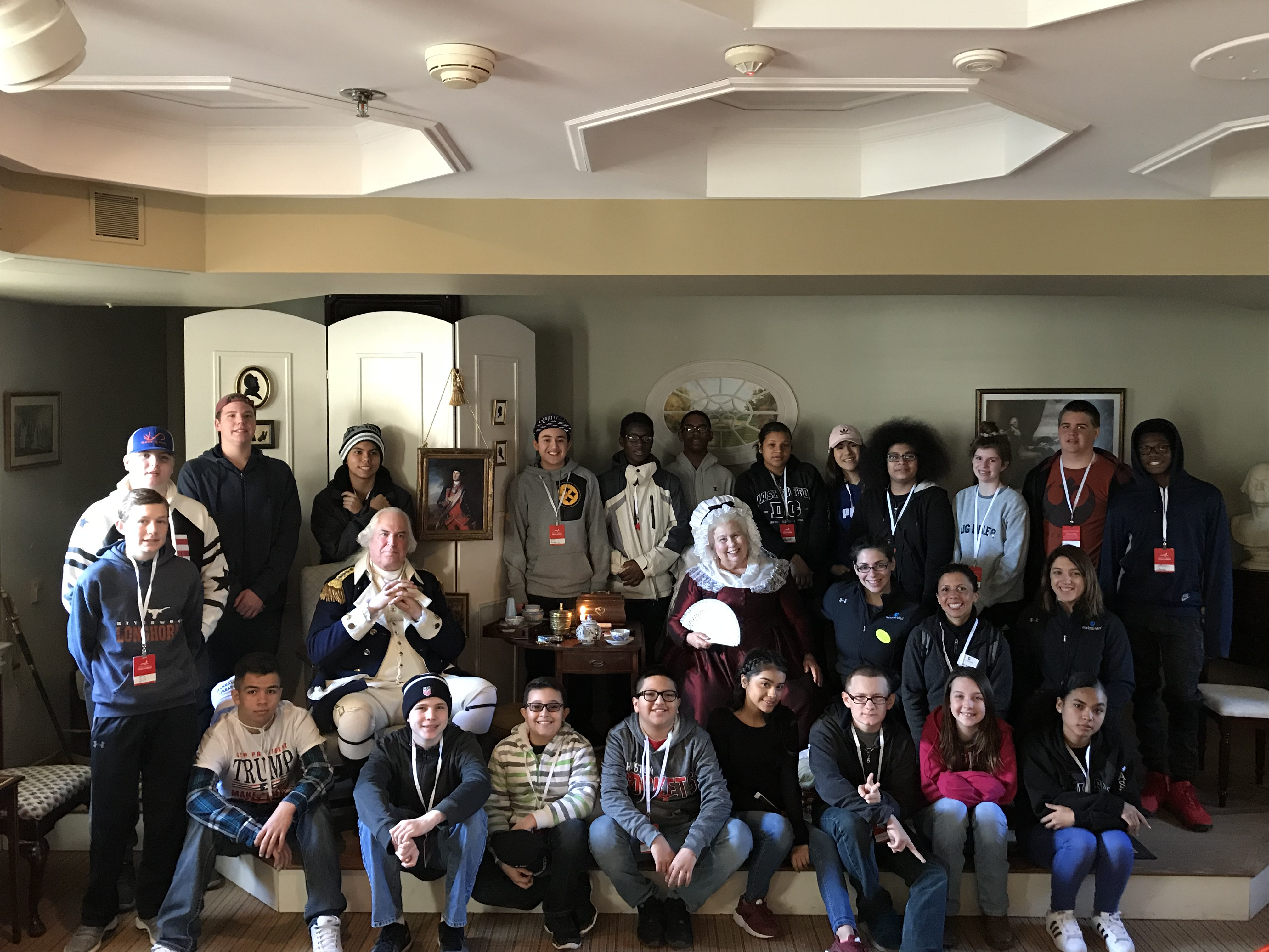 Students meeting General and Mrs. Washington at Mount Vernon.