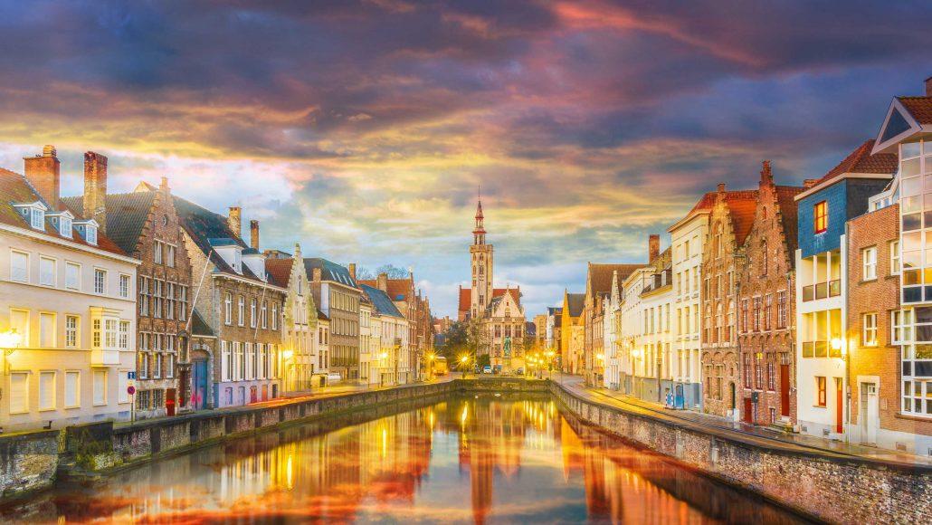 Spiegelrei-canal-and-Jan-Van-Eyck-Square-Belgium