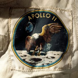 Apollo 11 patch on Armstrong's spacesuit