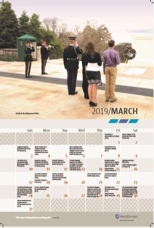 Classroom Wall Calendar - March 2019 - History