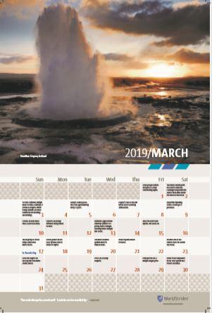 Classroom Wall Calendar - March 2019 - Science