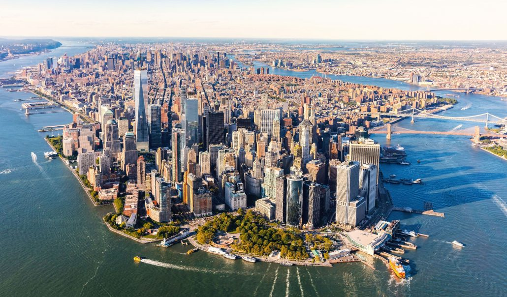 Aerial view of lower Manhattan, NYC