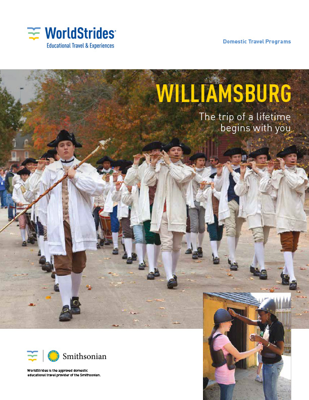 WorldStrides Williamsburg VA Travel Planner