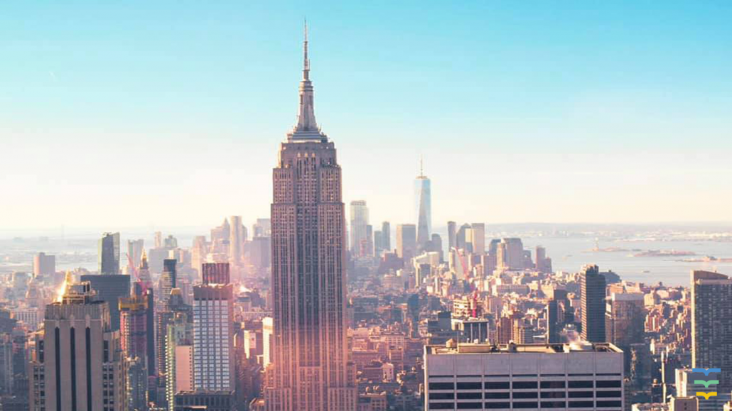 Empire State Building New York skyline online meeting background
