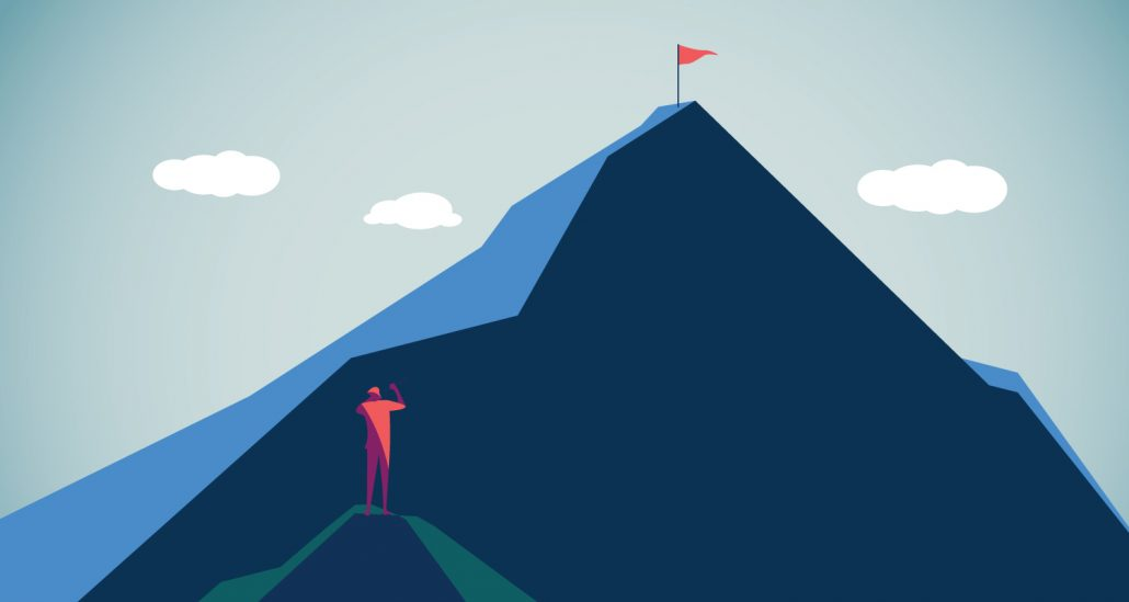 Graphic drawing of red man standing on lower mountain op, looking at reg flag on top of a larger mountain