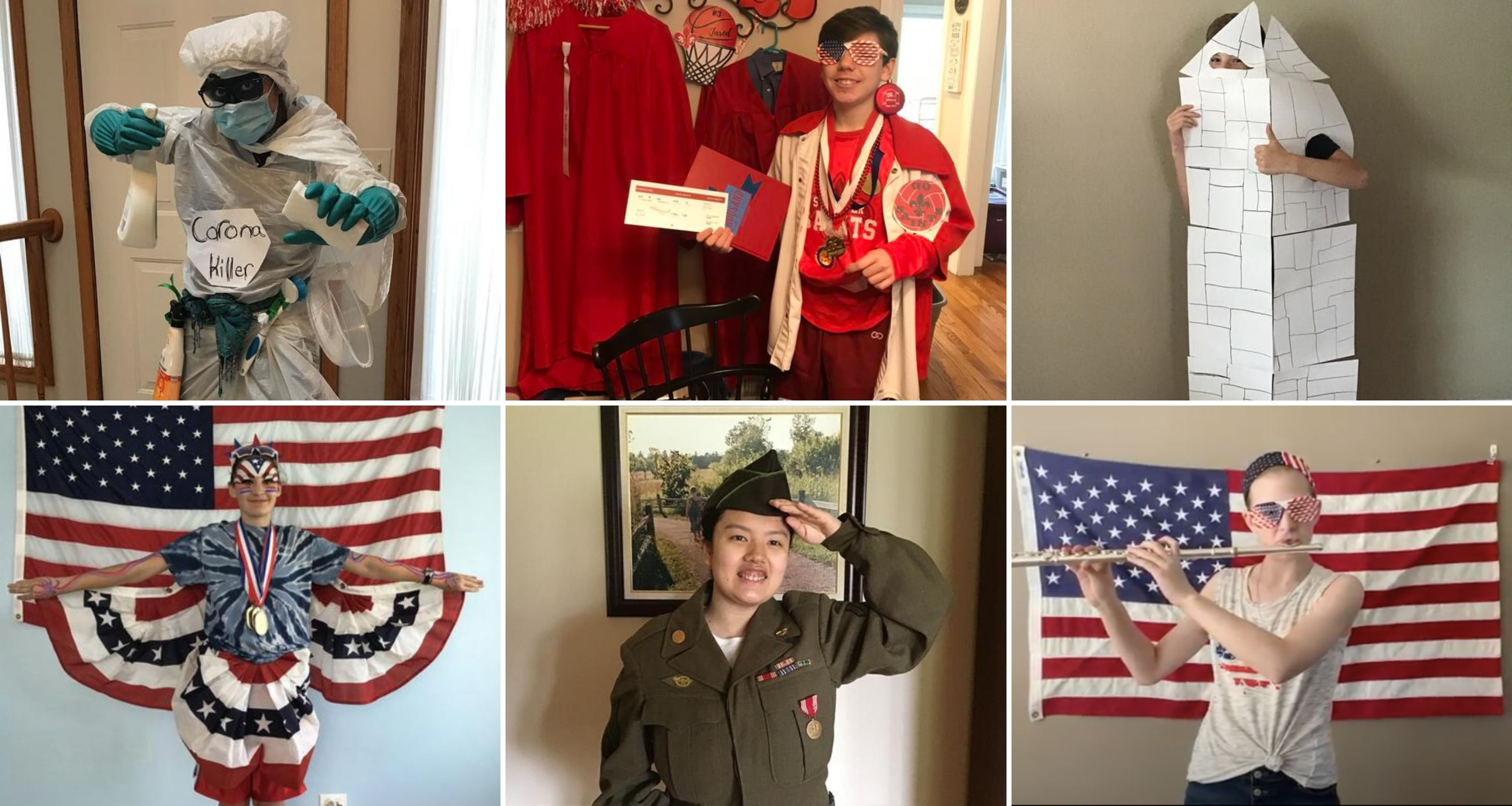 Collage of photos of students in themed outfits