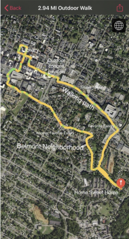 Screenshot of map showing walking tour near WorldStrides office in Charlottesville