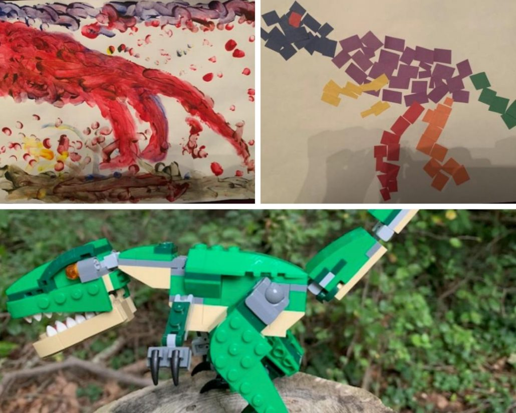 Painting of a t-rex, paper collage of a t-rex, and a lego t-rex