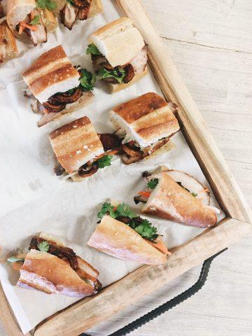 Slices of bahn mi sandwich on a board