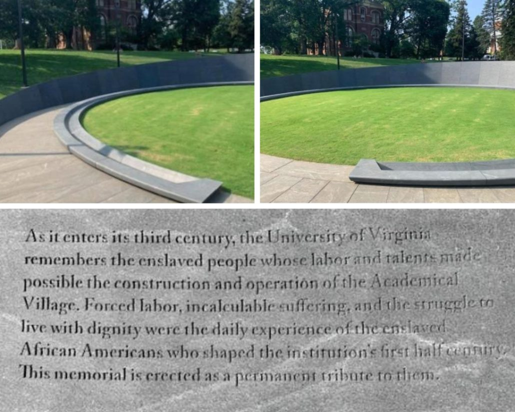 Photo collage of University of Virginia Memorial to Enslaved Laborers