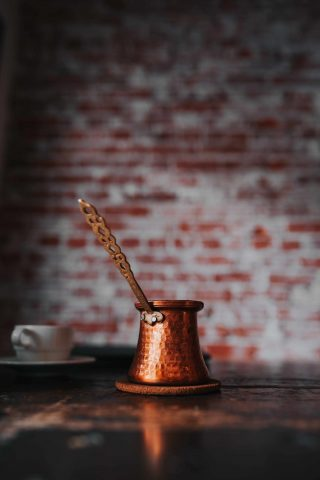 Traditional cezve for serving turkish coffee