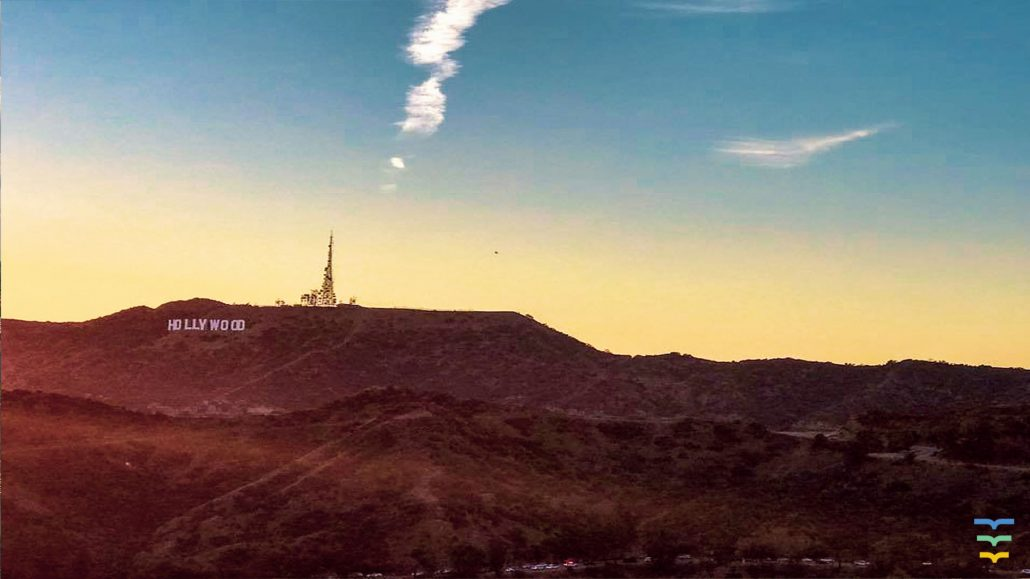 Hollywood sign at sunset, Los Angeles Virtual Background